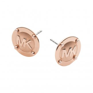 Rose Gold MK Logo Stud Earrings