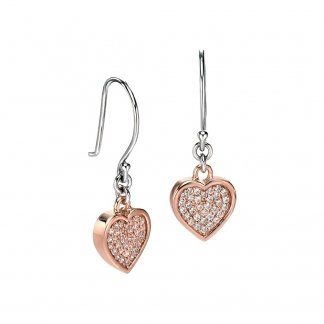 Rose Gold Plated CZ Pave Heart Earrings E4674C