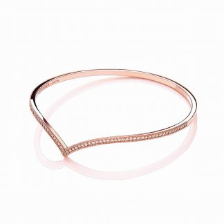 Rose Gold Plated Stone Set Wishbone Bangle