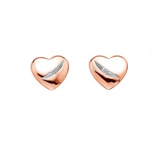 Rose Gold Shooting Stars Heart Studs