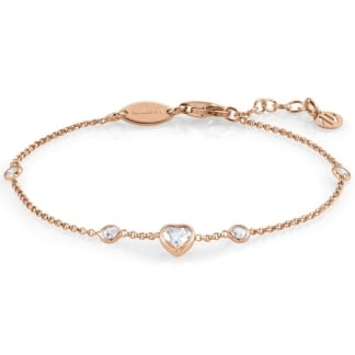 Rose Gold Single Heart Stone Set Bella Bracelet