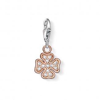 Rose Gold Sparkly Cloverleaf Charm 0908-416-14