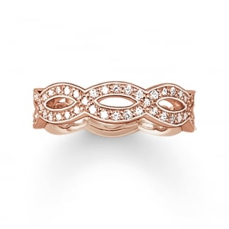 Rose Gold Stone Set Infinity Wave Ring
