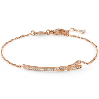 Rose Gold & Stone Set My Cherie Long Bow Bracelet