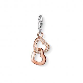 Rose Gold Interlocking Hearts Charm 0907-416-14