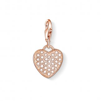 Rose Gold Sparkly Heart Charm 1021-416-14