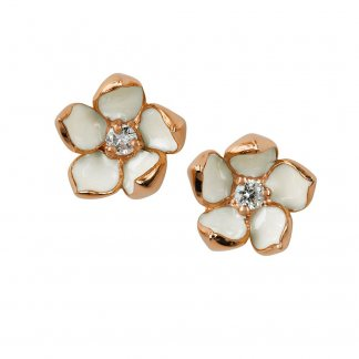 Rose Gold Vermeil & Diamond Small Blossom Studs