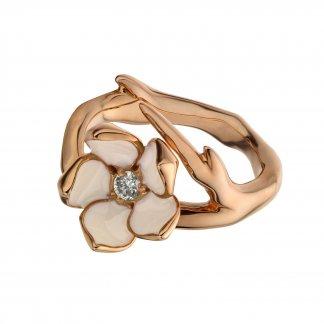 Rose Gold Vermeil Single Diamond Cherry Blossom Ring SLS208RG