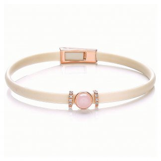 Rose Quartz Cream Silicon Riviera Bracelet