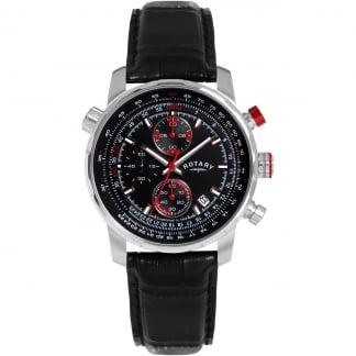 Gent's Black Leather Black Dial Chronograph Watch GS03641/04/L