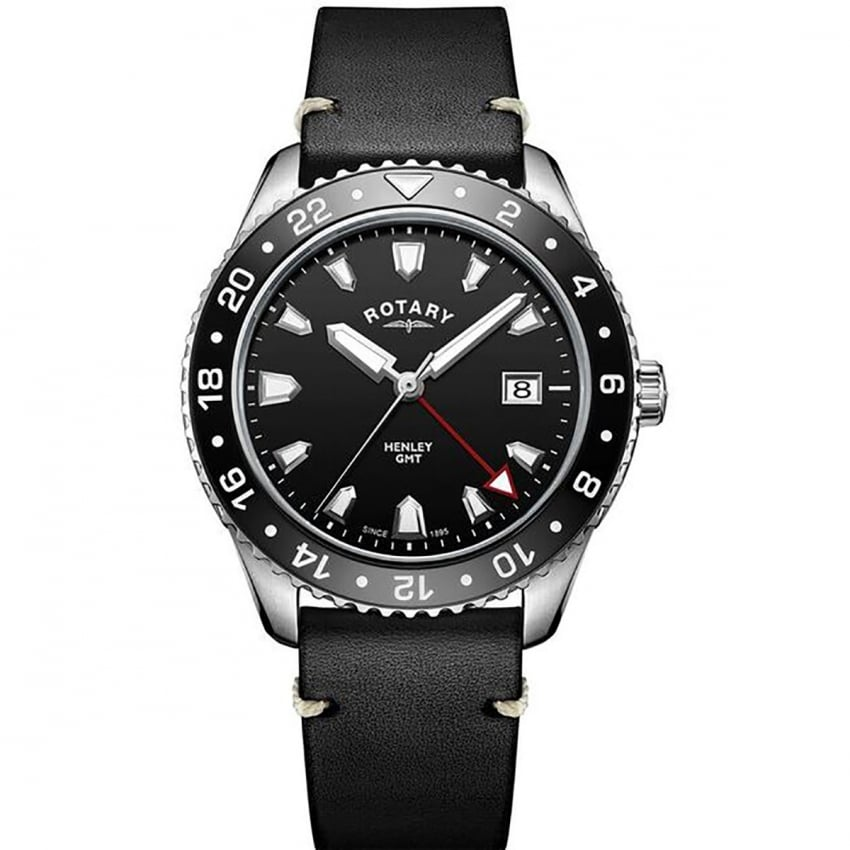 Gents Henley Black Dial GMT Leather Watch GS05108/04