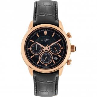 Gent's Monaco Black Strap Chronograph Watch GS02879/04
