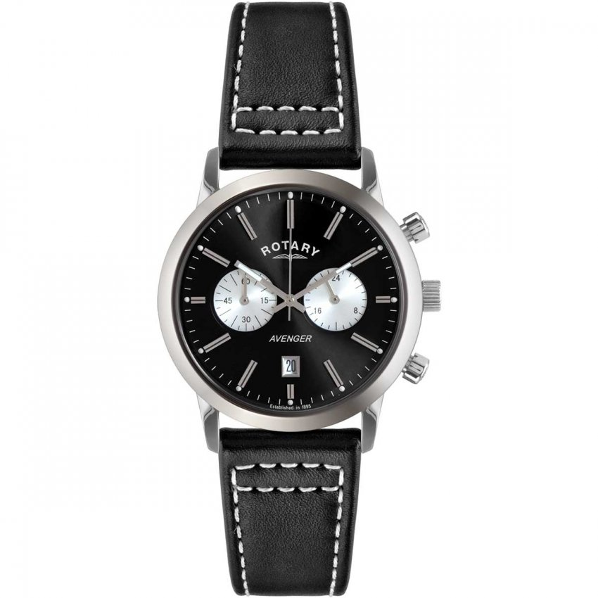 Rotary Gent's Sports Avenger Black Leather Chronograph Watch GS02730/04