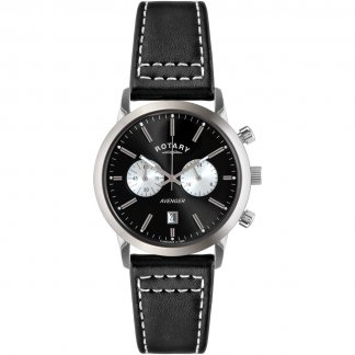 Gent's Sports Avenger Black Leather Chronograph Watch