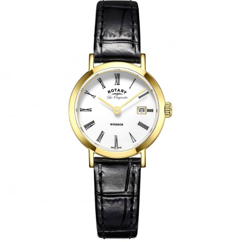 Gents Windsor Gold PVD Black Leather Strap Watch GS90156/01