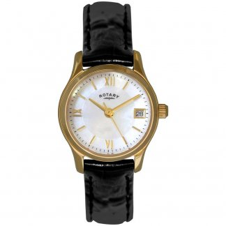 Ladies Gold Plated Black Leather Strap Watch