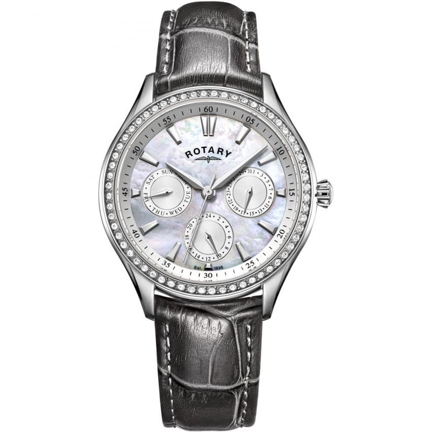 Rotary Ladies Hampstead Grey Leather Crystal Set Watch LS05056/07