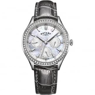 Ladies Hampstead Grey Leather Crystal Set Watch LS05056/07