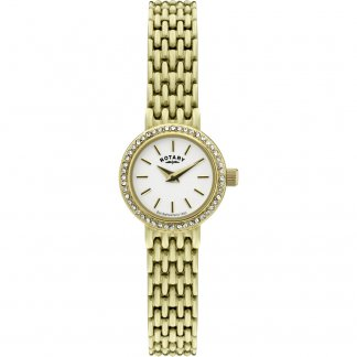 Ladies Petite Gold Tone Watch With Stone Set Bezel LB02835/03