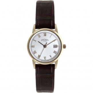 Ladies Rose Tone Black Strap Watch LS02754/21