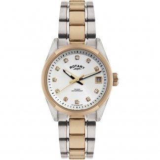 Ladies Two Tone Havana Watch with Stone Set Hour Markers