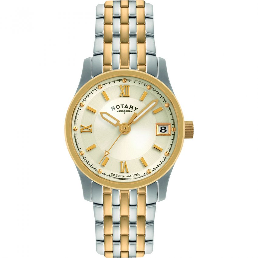 Rotary Ladies Two Tone Steel Watch with Date Window LBI0793/09