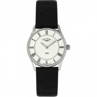 Ladies Ultra Slim Black Leather Swiss Quartz Watch LS08200/01
