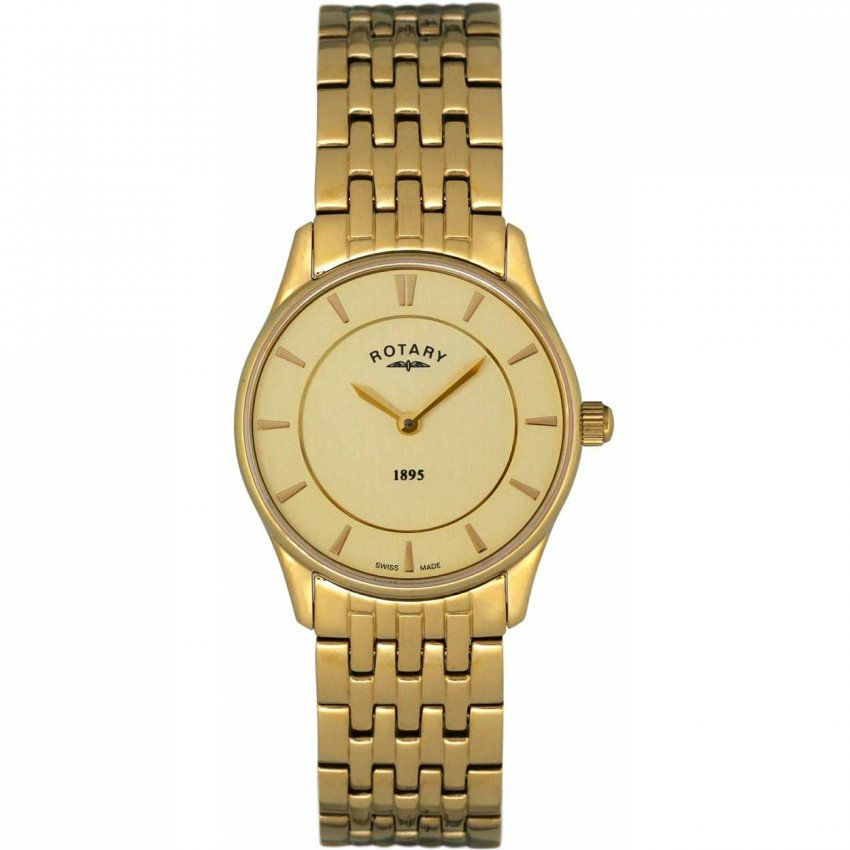 Rotary Ladies Ultra Slim Gold Tone Swiss Quartz Watch LB08203/03