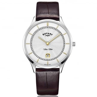 Ladies Ultra Slim Two Step Dial Leather Watch