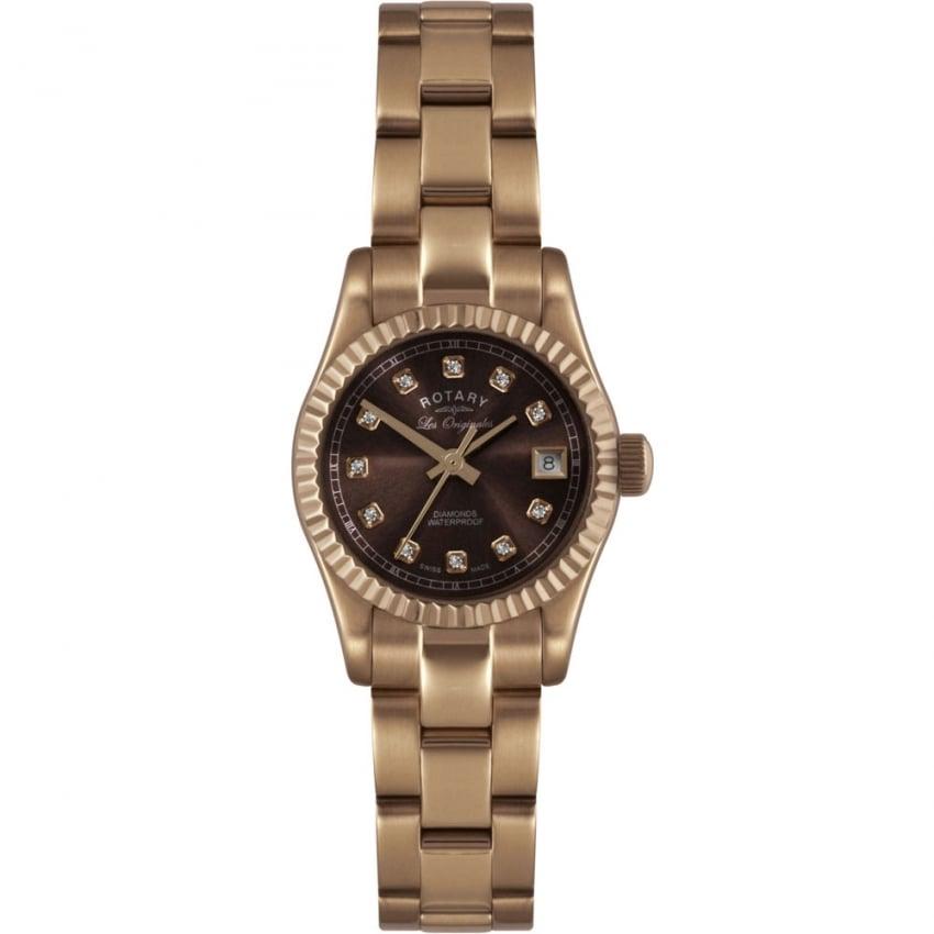 Rotary Ladies Verbier Rose Gold Diamond Set Watch LB08153/16