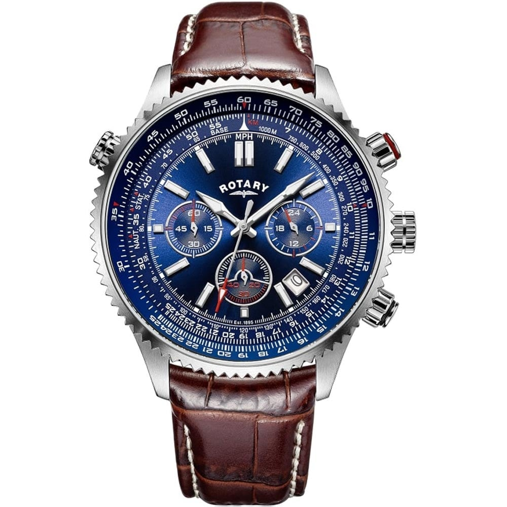 rotary s aviation blue chronograph