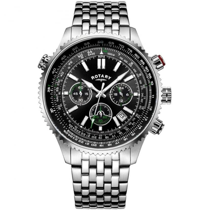Rotary Men's Aviation Chronograph Steel Bracelet Watch GB00699/10