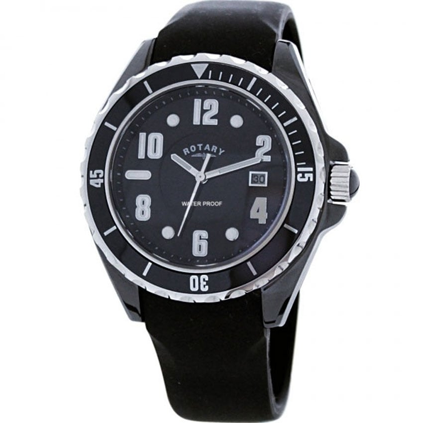 Rotary Men's Black Ceramic Rubber Strap Watch CATKIL3-GS