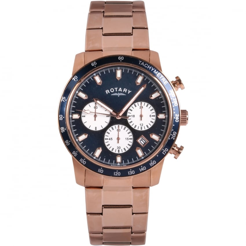 Rotary Men's Blue Dial Rose Gold Chronograph Watch GB00355/05