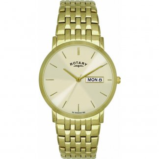 Men's Classic Day & Date Gold Tone Bracelet Watch