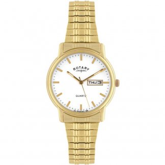 Men's Day & Date Gold Tone Expanding Bracelet Watch