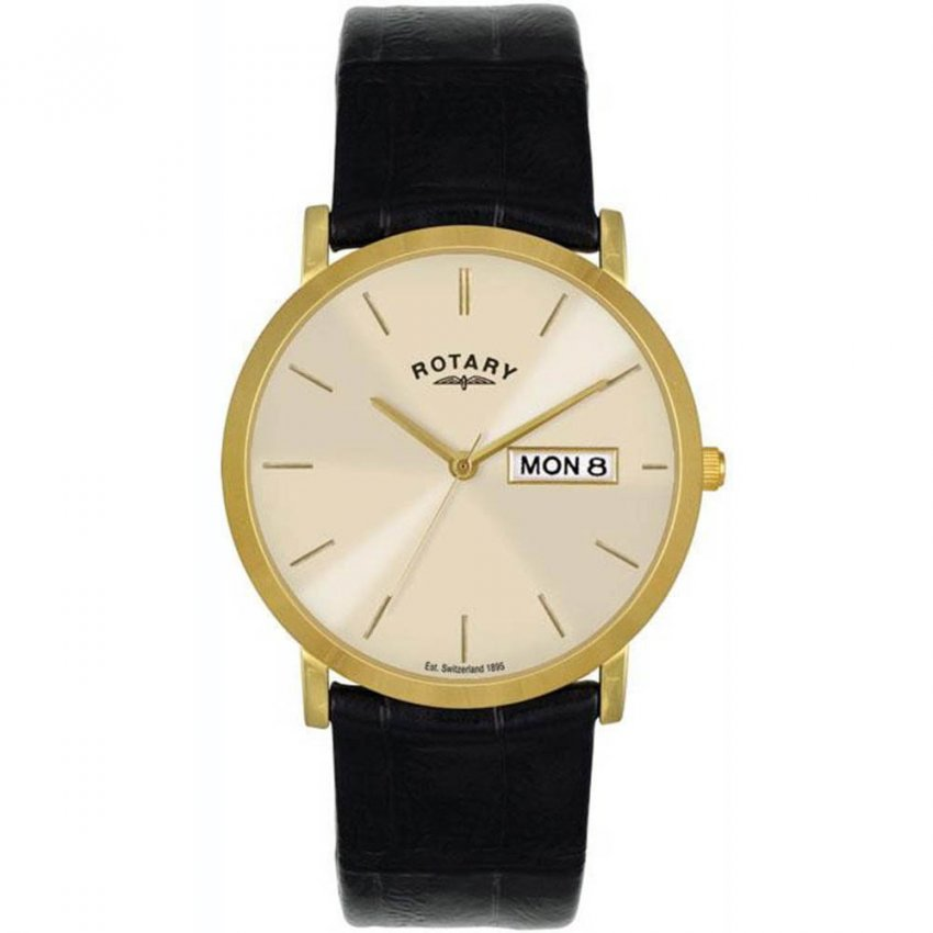 Rotary Men's Gold Tone Day/Date Watch with Black Strap GSI02624/03/DD