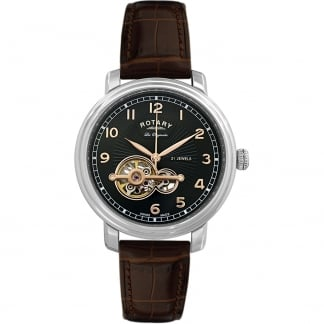 Men's Jura Brown Leather Automatic Part Skeleton Watch