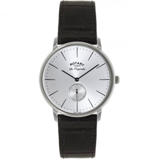 Men's Les Originales Black Leather Kensington Watch GS90050/06