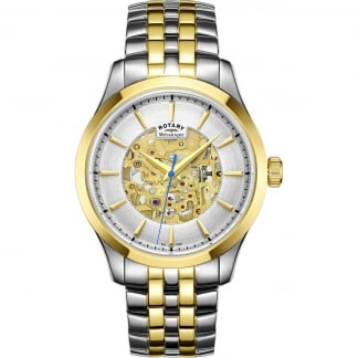 Men's Mecanique Two Tone Automatic Skeleton Watch