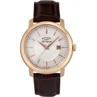 Men's Rose Gold Les Originales Brown Leather Strap Watch GS90093/06