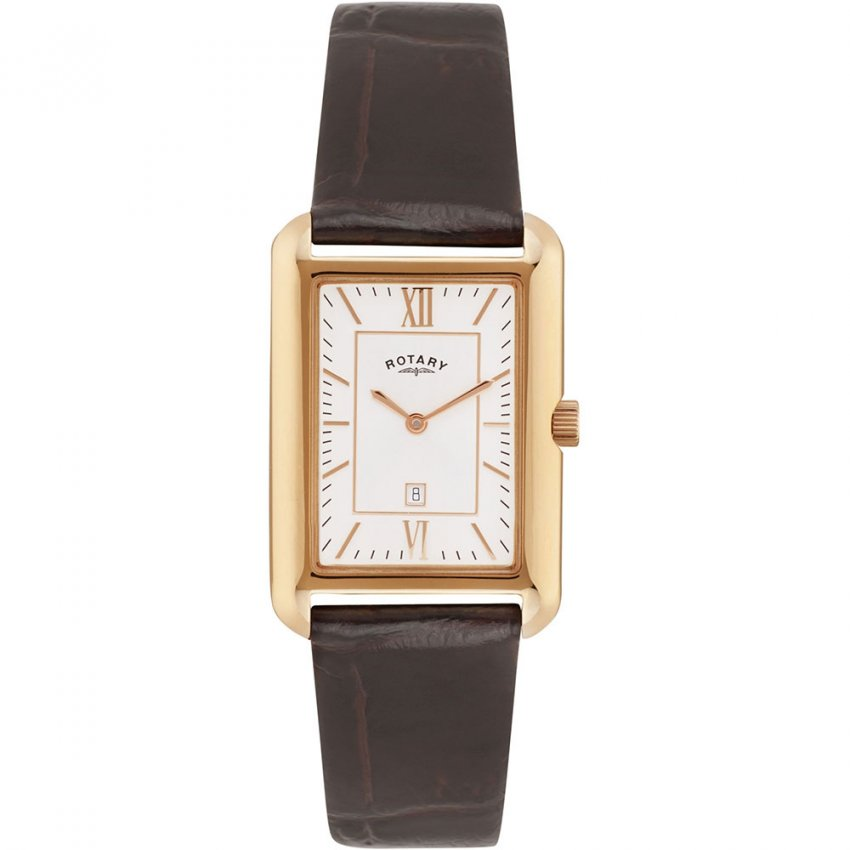 men s rotary gs02691 02 watch official uk shop francis gaye men 039 s rose pvd brown leather strap quartz watch