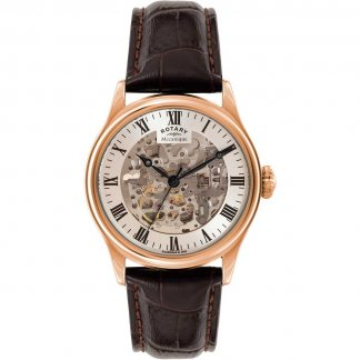 Men's Skeleton Rose Gold Brown Leather Mechanical Watch
