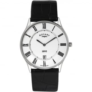 Men's Ultra Slim Black Leather Strap Watch GS08200/01