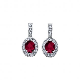 Ruby & Diamond 9ct White Gold Earrings 303758