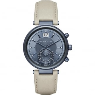 Sawyer Navy IP Cement Leather Chronograph Watch