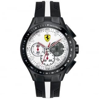 Men's Black Rubber White Chronograph Dial Watch 0830024