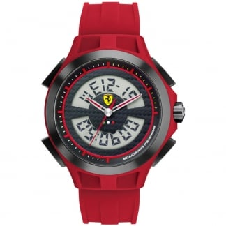 Men's Red Strap Digital Chronograph Watch