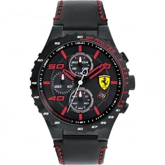 Men's Special Evo Black Leather Chronograph Watch 0830363