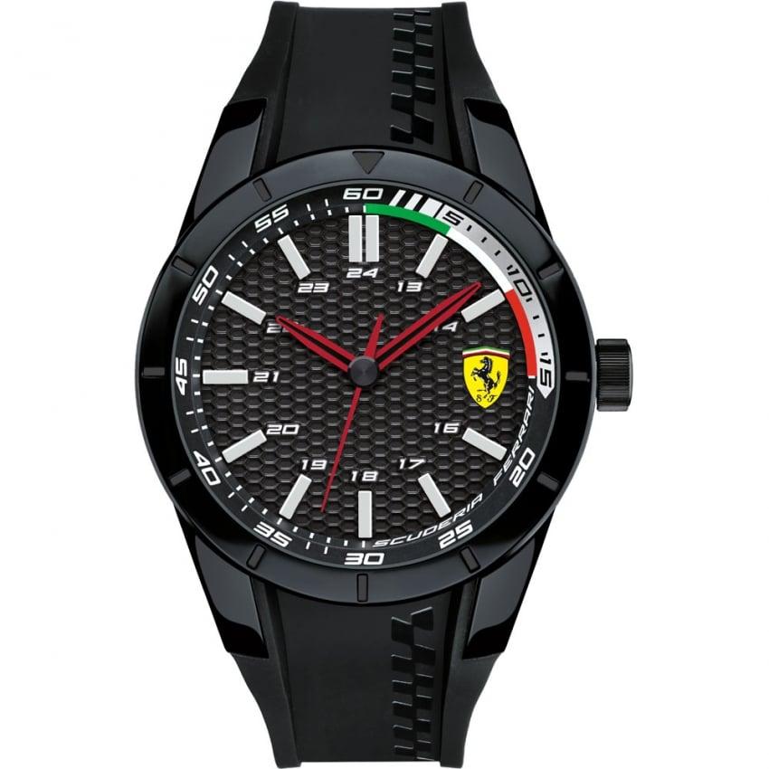 Scuderia Ferrari Men's RedRev Black Rubber Carbon Fibre Dial Watch 0830301